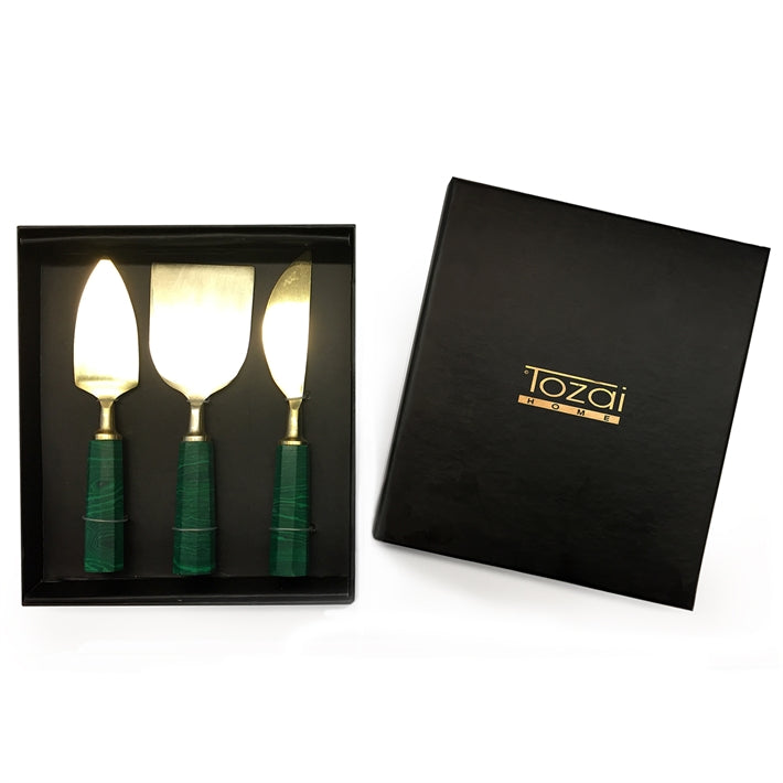 Malachite Cheese Servers Set (Set of 3)