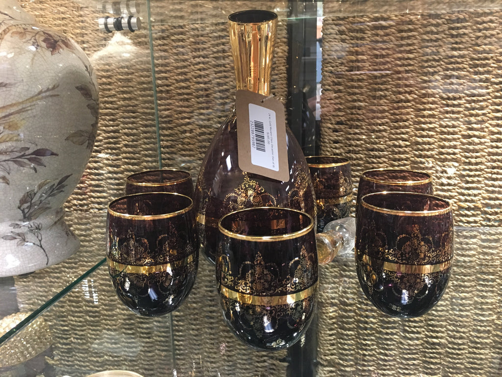 24 kt. Gold Murano Glass Decanter (Set of 8)