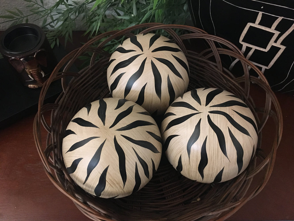 Animal Print Decorative Wood Ball