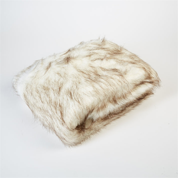 Arctic White Lynx Faux Fur Throw