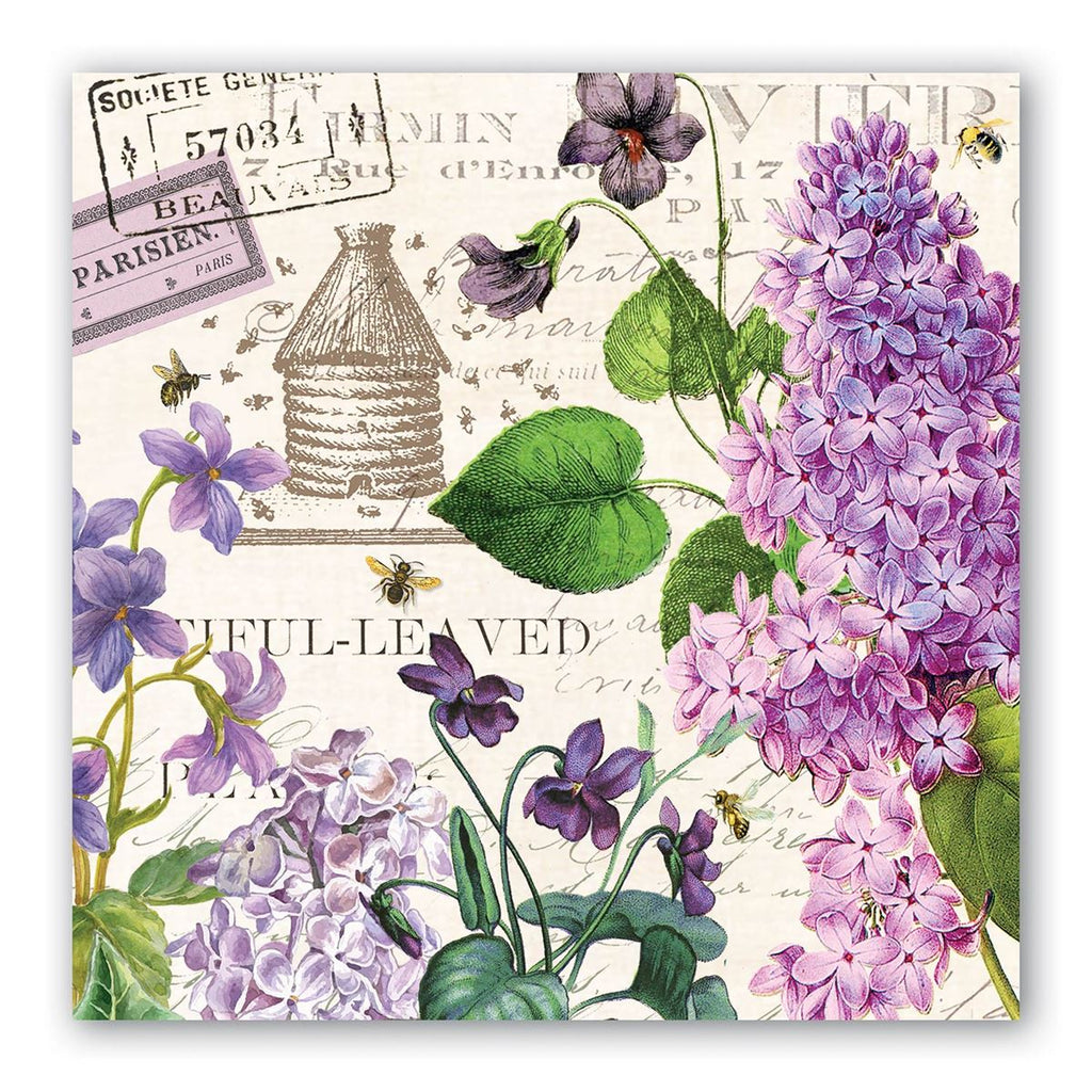 Lilac and Violets Luncheon Napkins