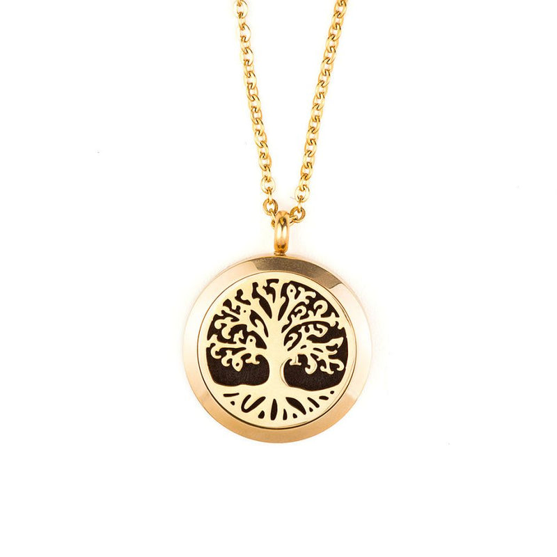 Gold Aromatherapy Tree of Life Diffuser Locket Necklace