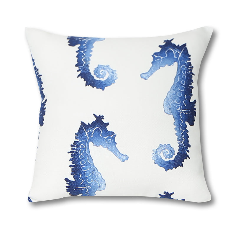 Seahorse Blue Outdoor Pillow