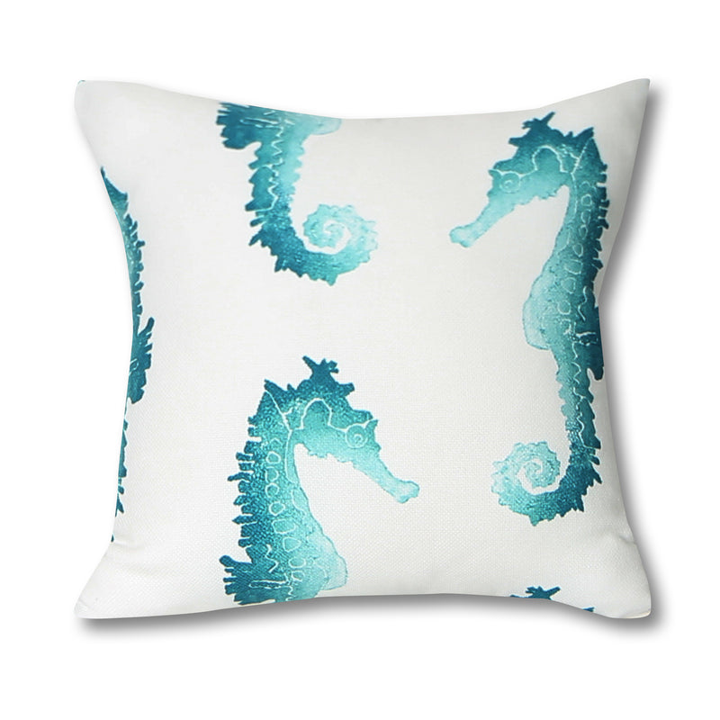 Seahorse Teal Outdoor Pillow