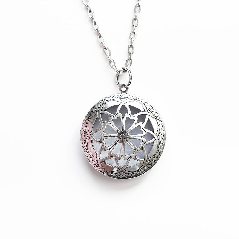 Antique Silver Aromatherapy Diffuser Locket Necklace