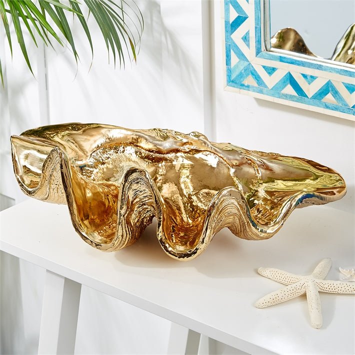 De Milo Electroplated Gold Shell Decorative Dish