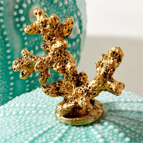 Gold Coral and Seafoam Sea Urchin Trinket Box