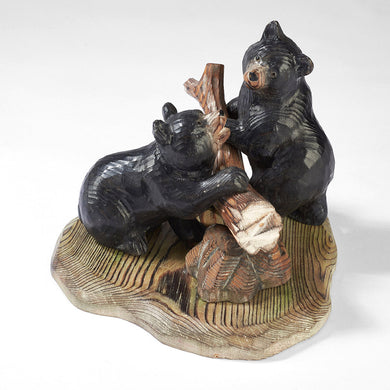 Black Bears with Log