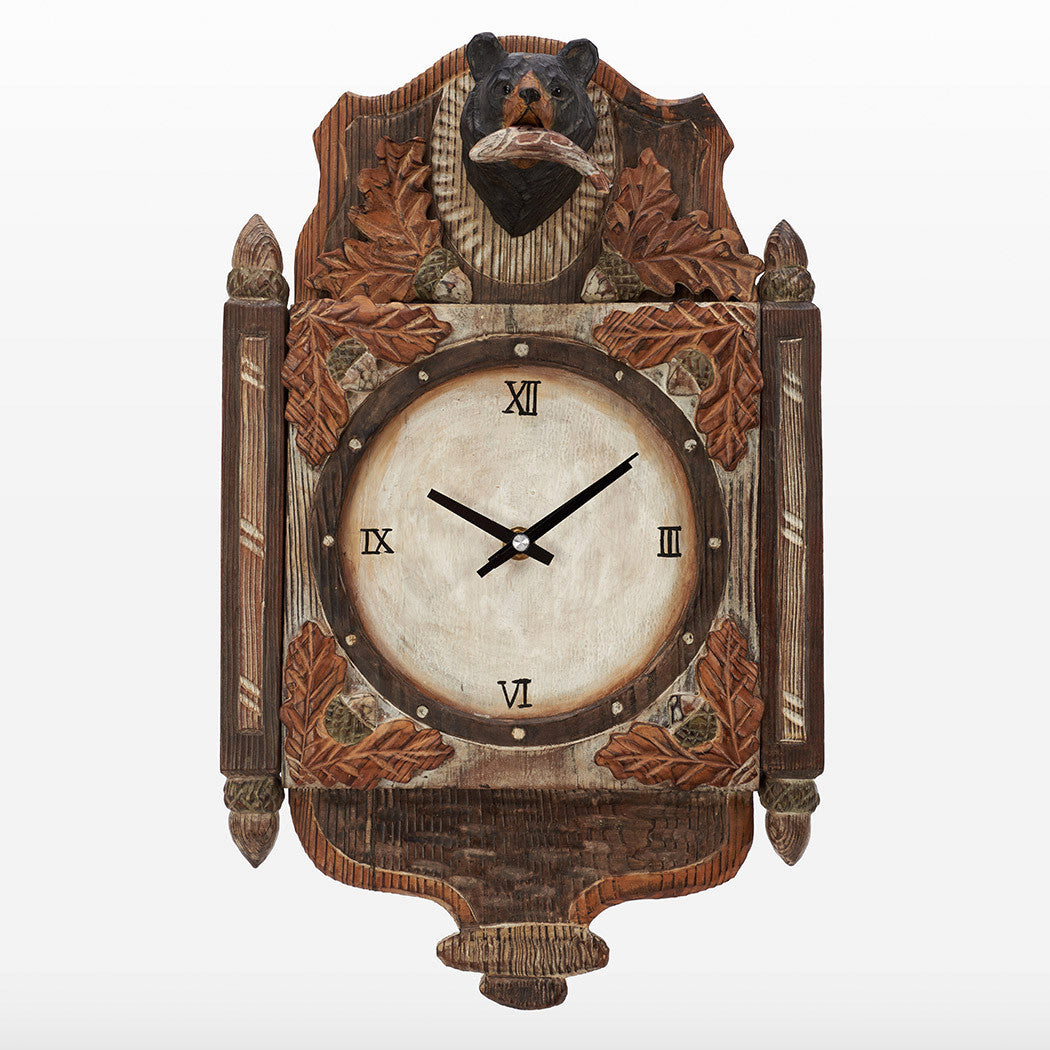 Black Bear With Maple Leaves And Pine Corn Decoration 3D Clock