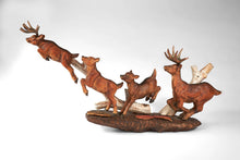 Wildlife Deer Running With Birch Tree Sculpture