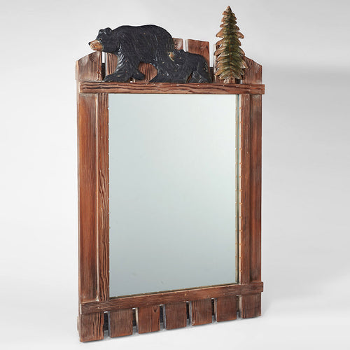 Hand Carved Black Bear Mirror