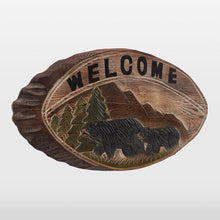 Hand Carved Black Bear Welcome Sign