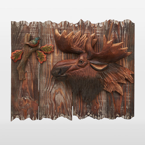 Moose With A Bird And Autumn Leaves Wall Art
