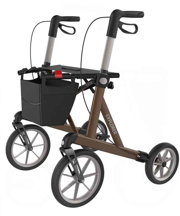 Rehasense Outdoor Rollator Walker Explorer, Brown - PHILmed 24 Online Shop
