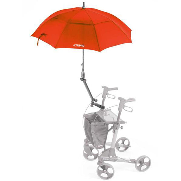 Topro Umbrella with attachment, Rollator Accessory for Troja, Troja 2G, Olympos, red