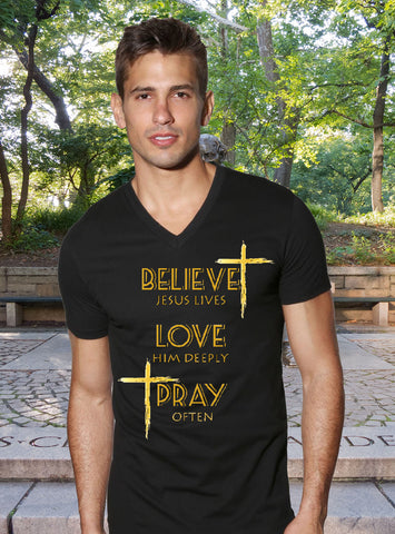 [Believe_Love_Pray_Gold_Finish], [Christian_T-Shirt], [Gildan], [Art_Tees_Rock]