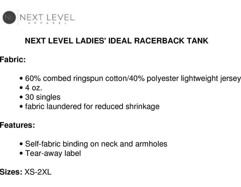 Next Level racer back Tank top description