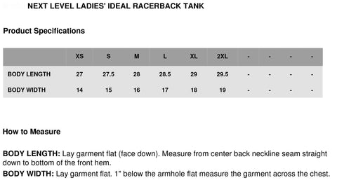 Next Level racer back Tank top Size Chart