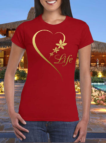Heart Life, gold finished design women T-shirt by Art Tees Rock