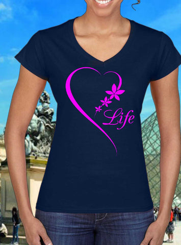 Heart Life, pink design women T-shirt by Art Tees Rock
