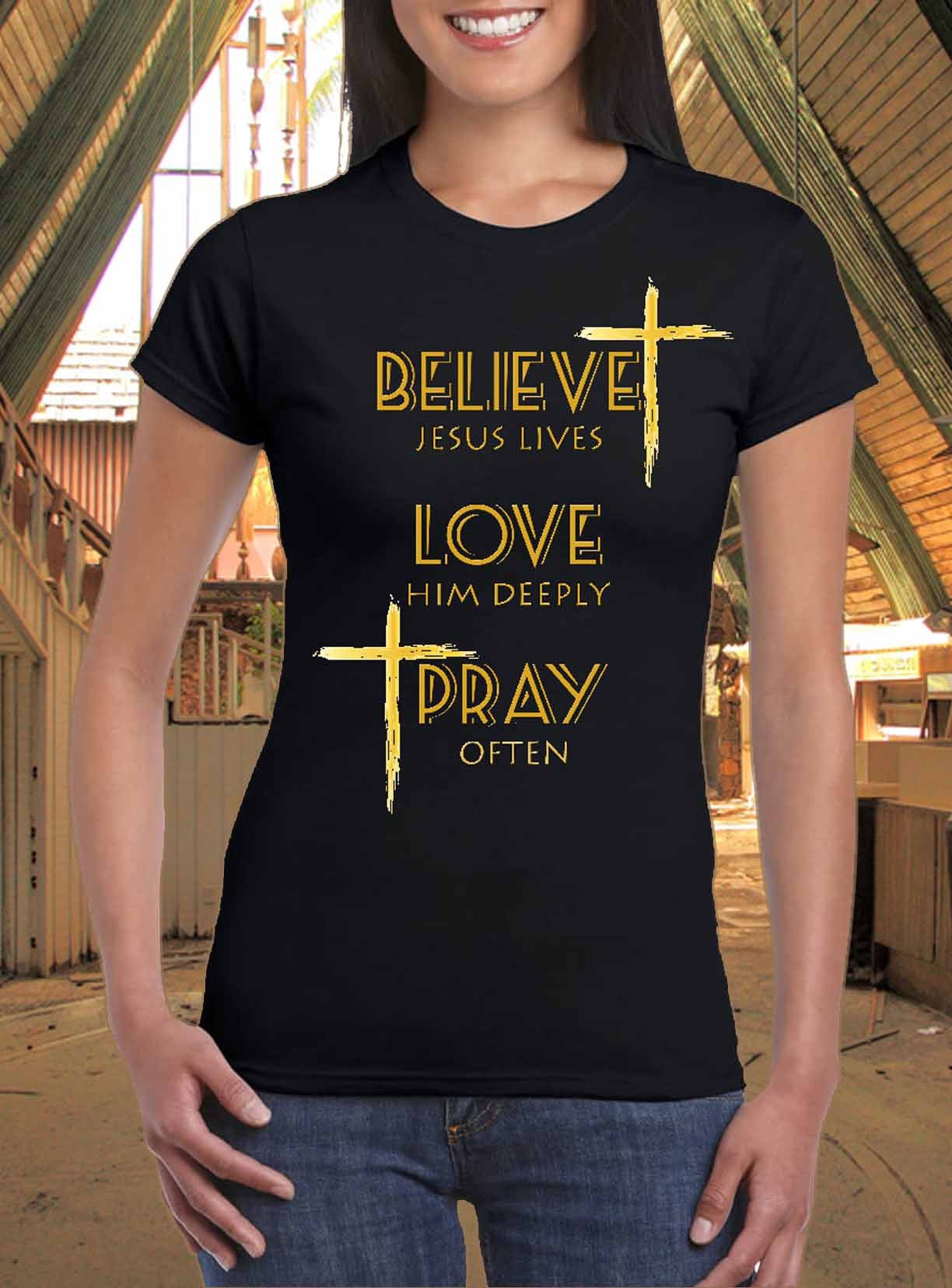 Black t shirt with gold design - Believe Love Pray Gold Finished Design Women T Shirt By Art Tees Rock