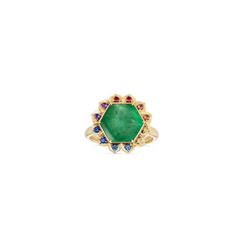 Bespoke Anahata Emerald Coloured Sapphire Lotus Ring