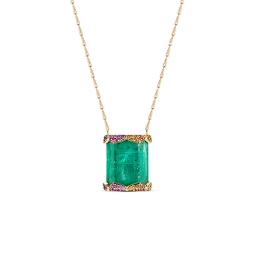 Bespoke Anahata Emerald Crystal Coloured Sapphire Amethyst Diamond Pendant