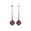 Bespoke Mulhadara Garnet Roosewood Diamond Sapphire Earrings 3