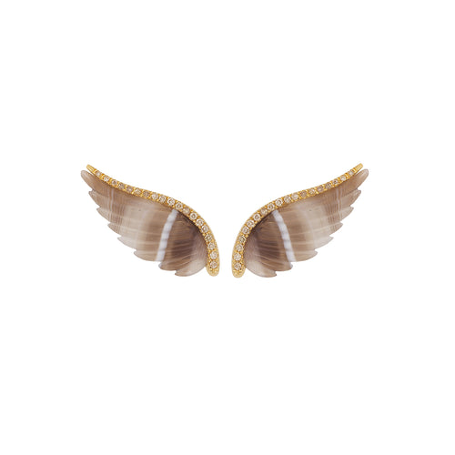 Wing Earpieces with White Diamonds