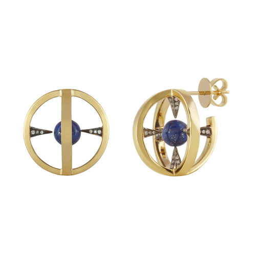 'Radial Creoles' Lapis Lazuli Earrings