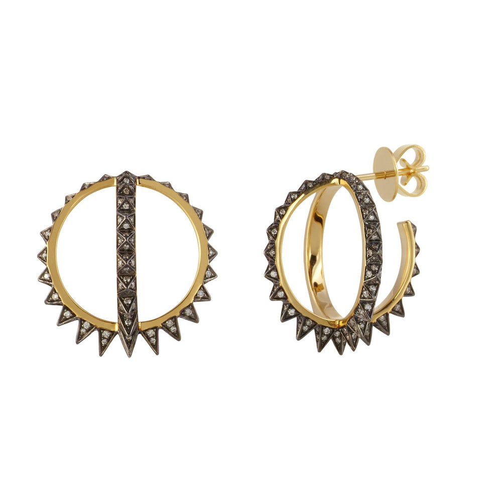 'Merkaba Creoles' diamond earrings