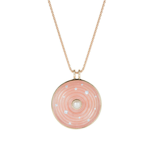 Large Pink Opal Inle Amulet