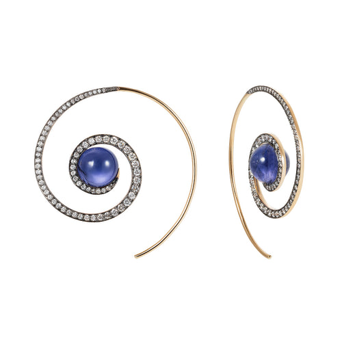 Iolite Spiral Moon Earrings