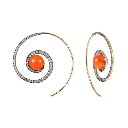 Carnelian Spiral Moon Earrings