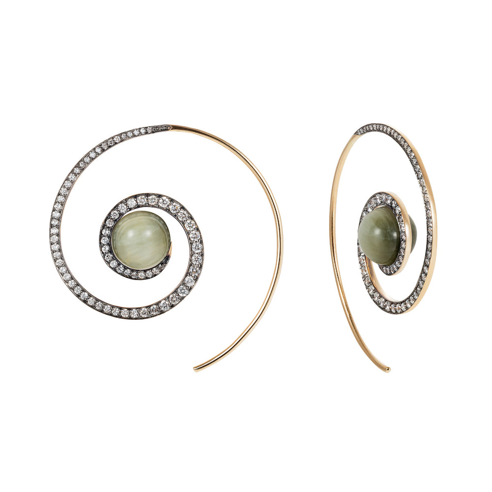 Cats Eye Spiral Moon Earrings