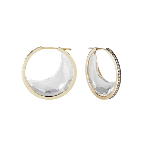 Faceted Rock Crystal Chandra Crescent Earrings