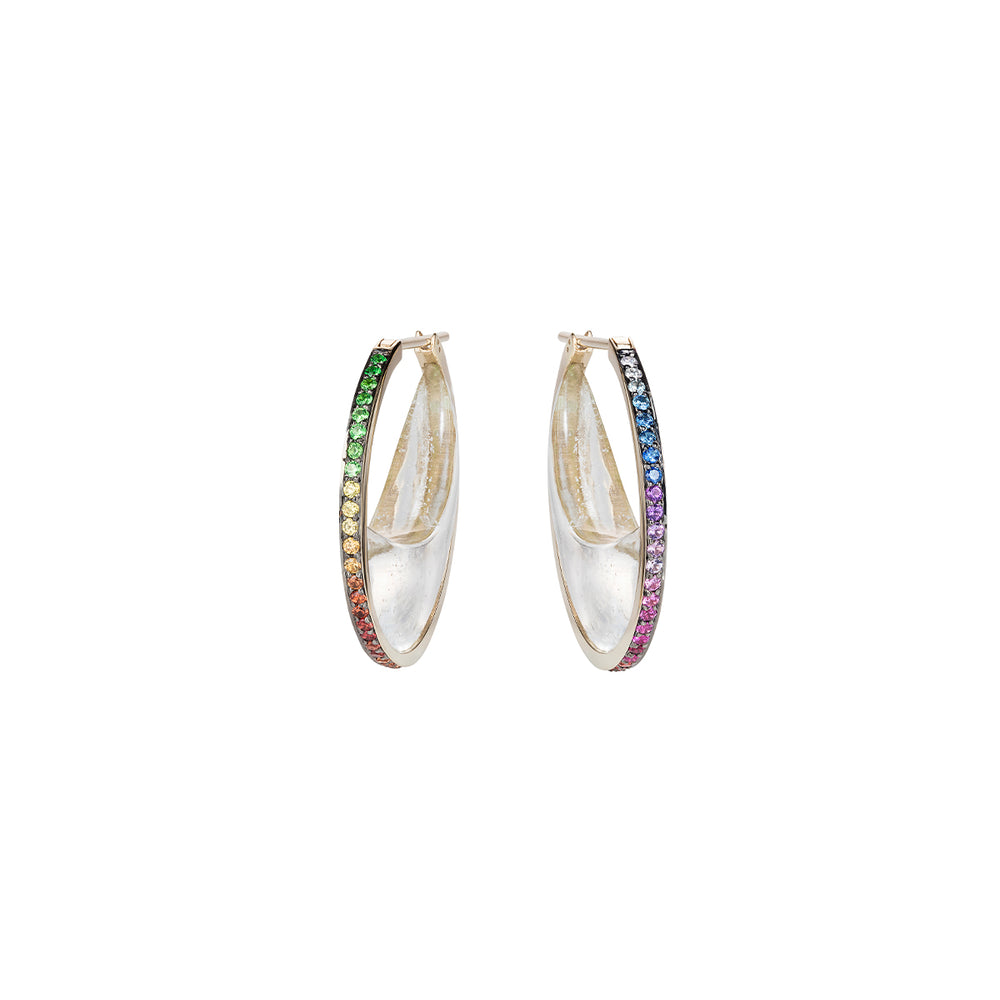 Rainbow Chandra Crescent Earrings