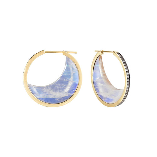 Moonstone Chandra Crescent Earrings