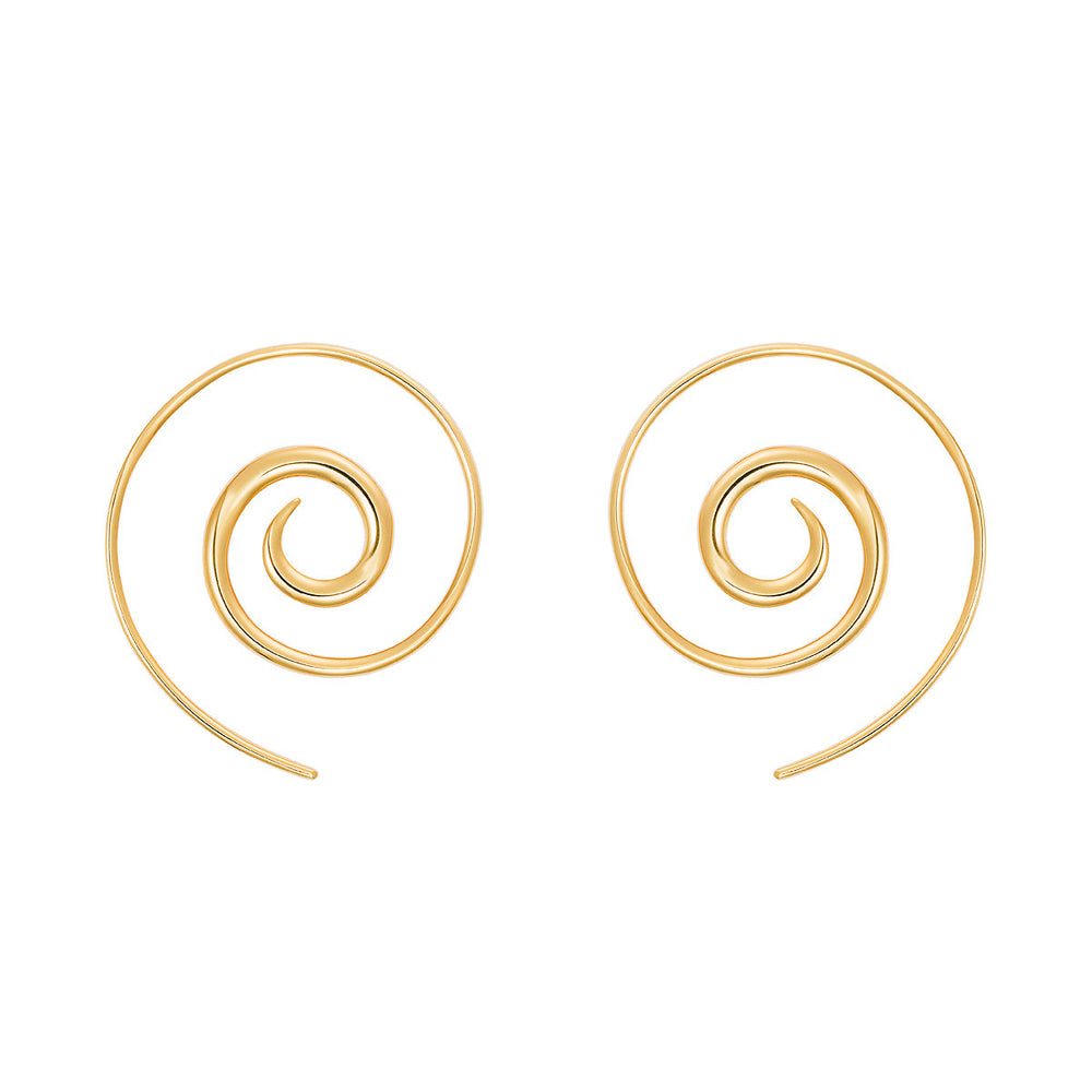 Navratna Spiral Moon Earrings