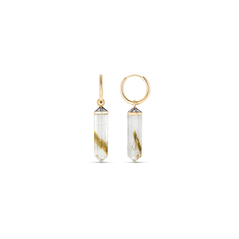Rutilated Quartz Crystal Earrings
