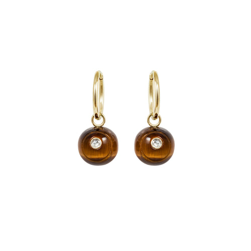 Noor Fares Svadhistana Tiger's Eye Diamond Earrings