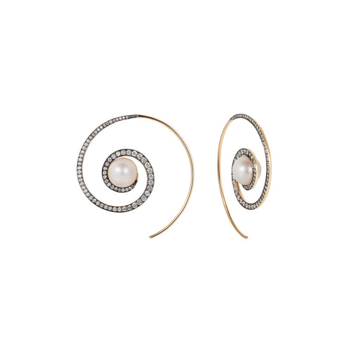 Noor Fares pearl spiral moon earrings