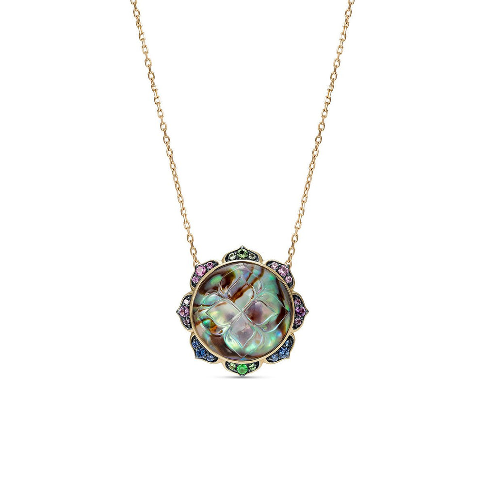 Noor Fares Abalone Chrome Tourmaline Coloured Sapphire Madhya Pendant Front