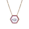 Noor Fares bespoke rock crystal pendant with diamond