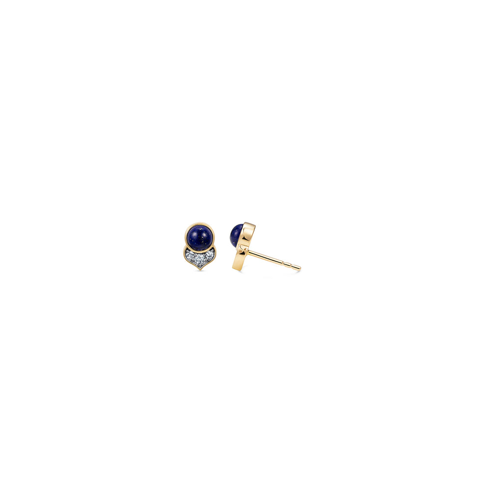 Noor Fares Kamala Lapis Lazuli Diamond Stud Earrings