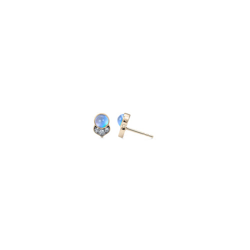 Noor Fares Kamala Rainbow Moonstone Diamond Stud Earrings