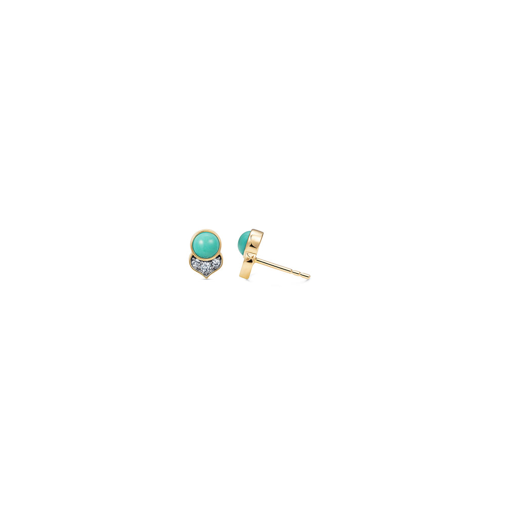 Noor Fares Turquoise Kamala Diamond Stud Earrings