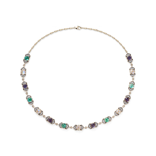 Noor Fares Rainbow Moonstone Iolite Appatite Necklace