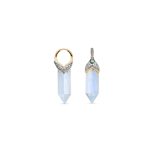 Noor Fares Rainbow Moonstone Kamala Opal Diamond Earrings