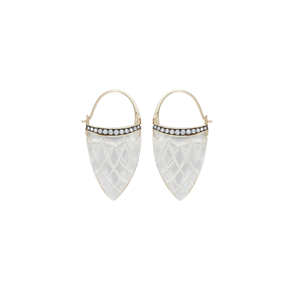 Noor Fares Rock Crystal Diamond Earrings